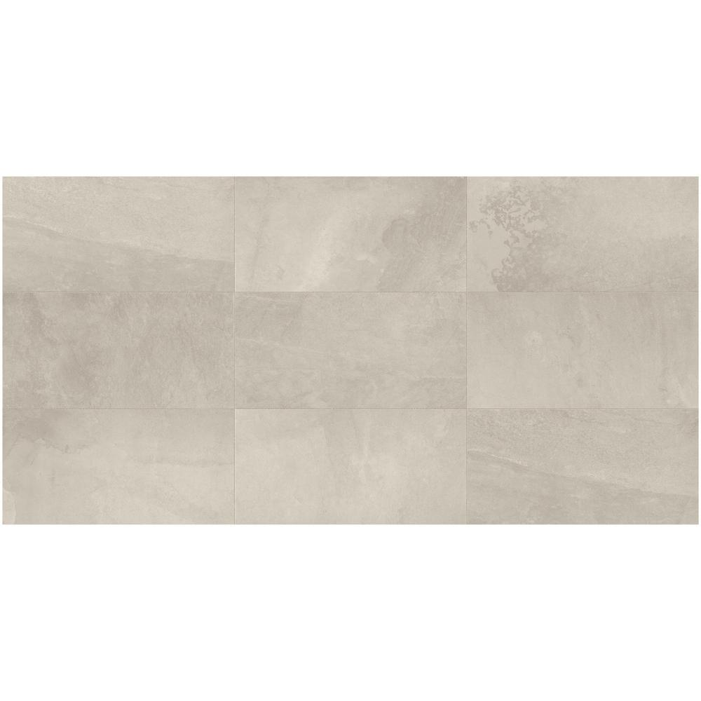 Daltile North Lake Ultra Light Gray Matte 12 In X 24 Glazed Porcelain