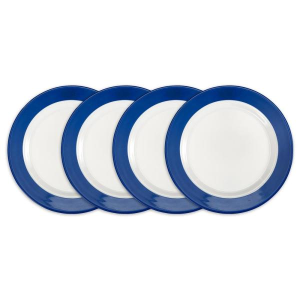 Q Squared Bistro 4-Piece Blue Melamine Salad Plate Set BISBL02