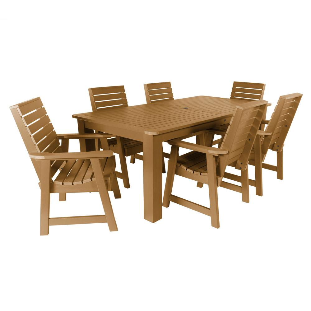 Highwood Weatherly Toffee 7-Piece Recycled Plastic Rectangular Outdoor Dining Set