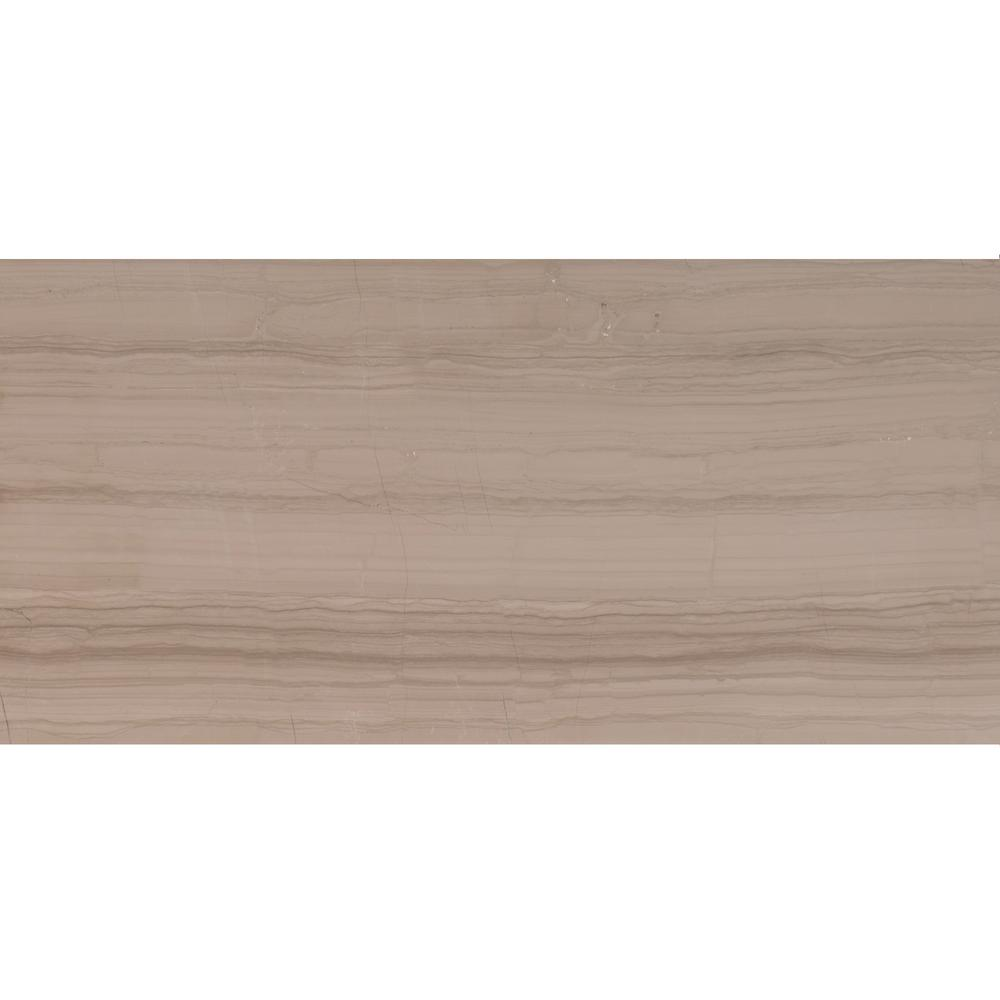 Athens Grey 12 in. x 24 in. Polished Marble Floor and