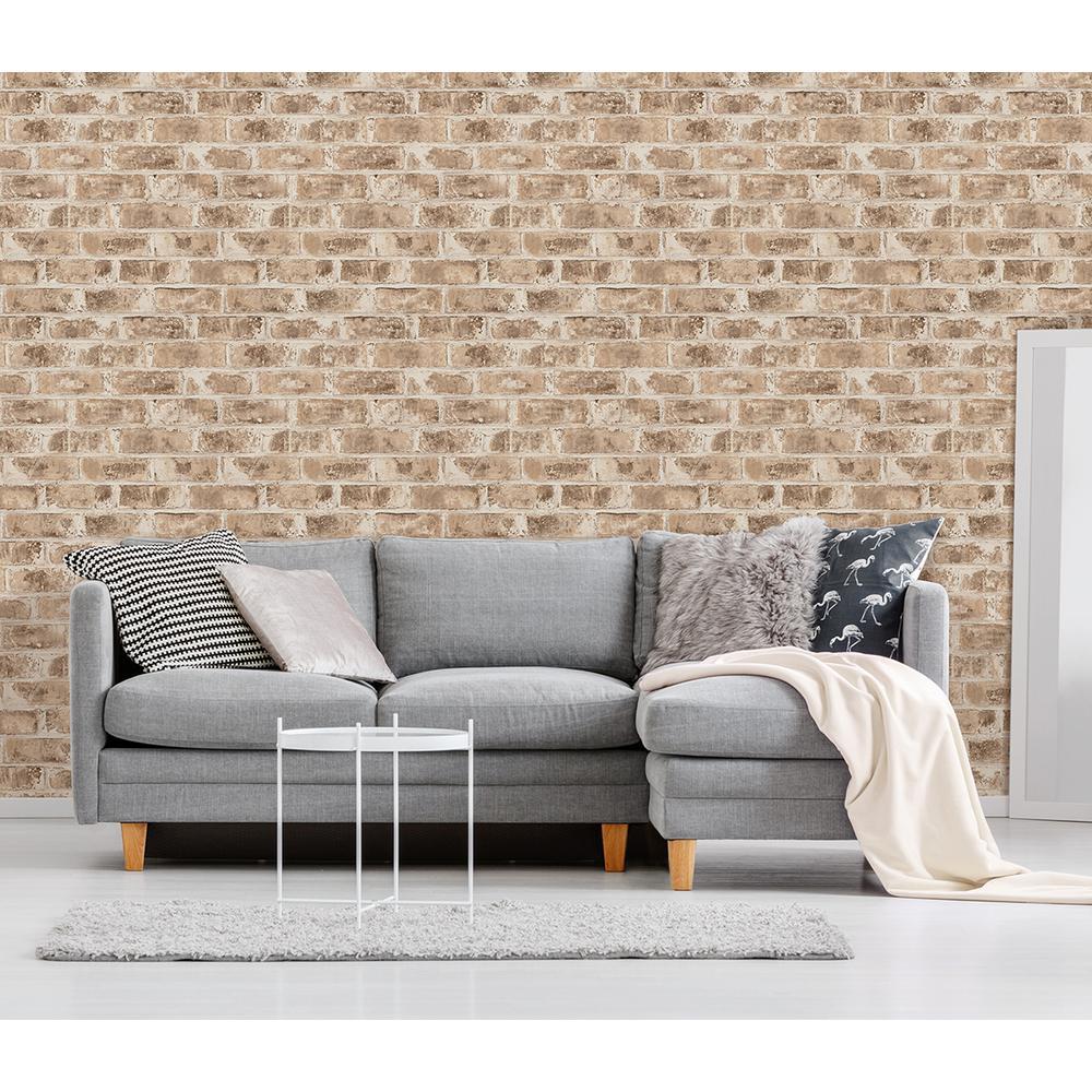 56.4 sq. ft. Jomax Neutral Warehouse Brick Wallpaper
