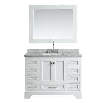Omega 48 in. W x 22 in. D Vanity in White with Marble Vanity Top in White with White Basin and Mirror