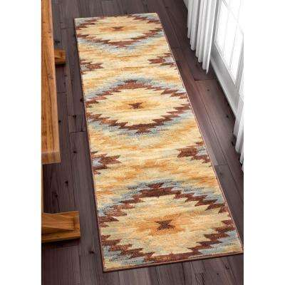 Miami Alamo Southwestern Traditional Blue 2 ft. x 7 ft. Runner Rug
