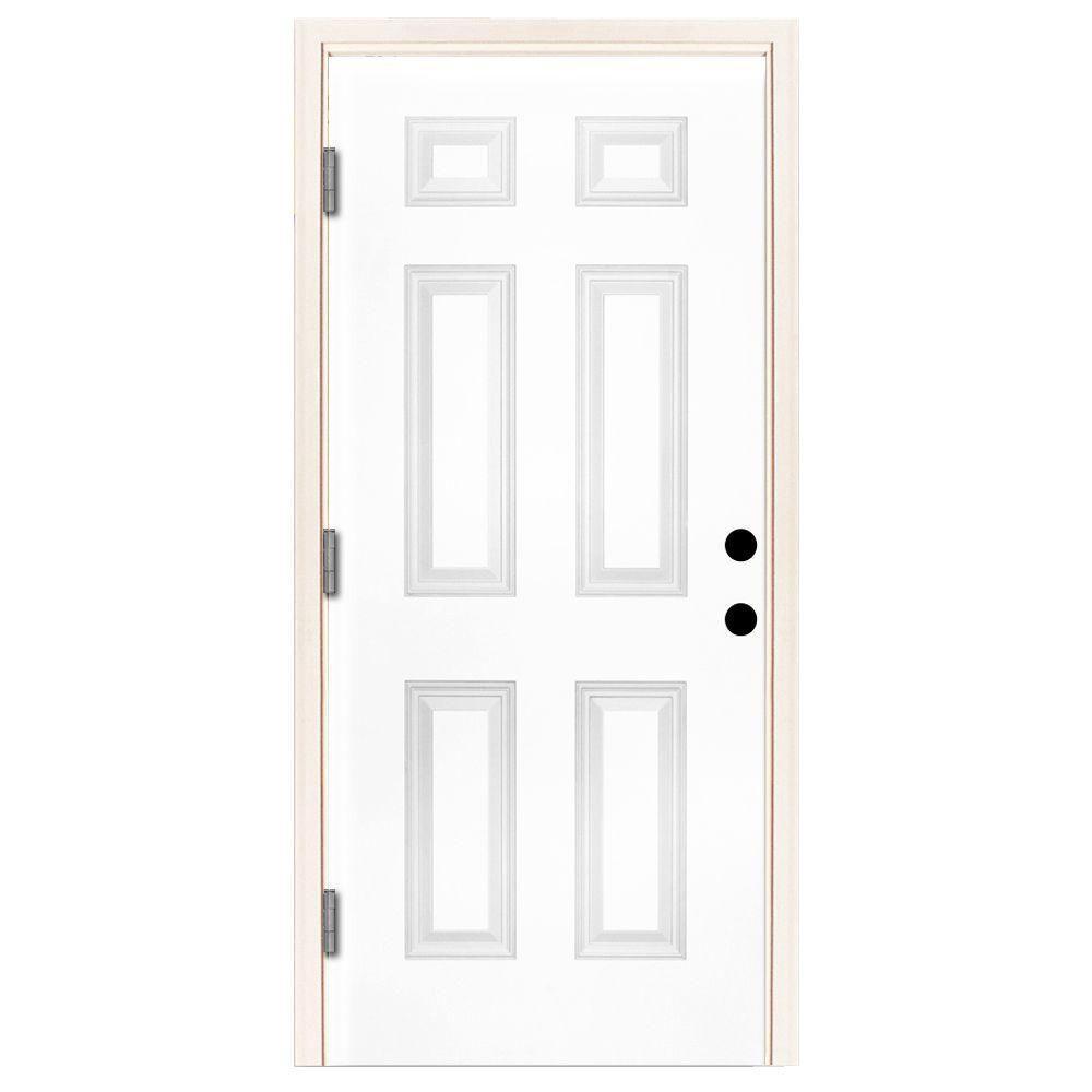 42 in. x 80 in. Premium 6 Panel Primed White Steel Prehung Front Door