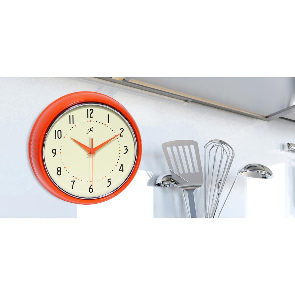 Infinity Instruments 9-1/2 in. Orange Retro Round Metal Wall Clock