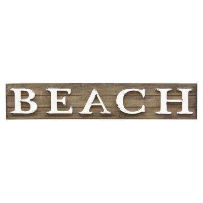 6 in. Novelty Sign-Beach in Brown