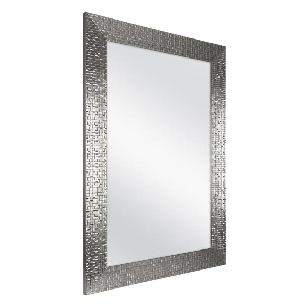 Home Decorators Collection 24 In W X 35 In H Framed Rectangular Anti Fog Bathroom Vanity Mirror In Silver Finish 81159 The Home Depot