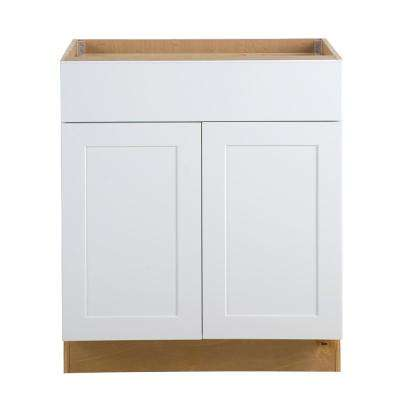 Cambridge Assembled 30x34.5x24.5 in. All Plywood Base Cabinet with Soft Close Full Extension Drawer in White