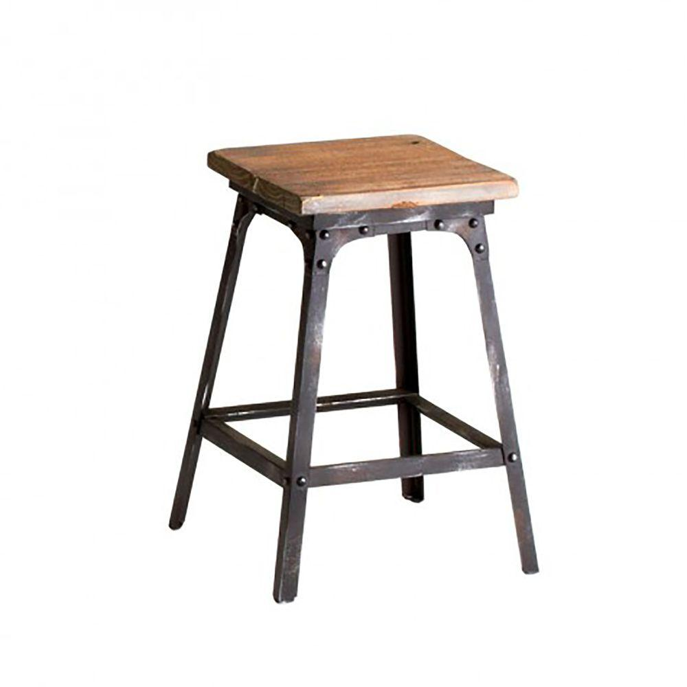 Filament Design Prospect Square Stool in Raw Iron and Natural Wood