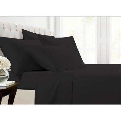 Mhf Home 6-Piece Black Solid 800 Thread Count Cotton Blend King Sheet Set