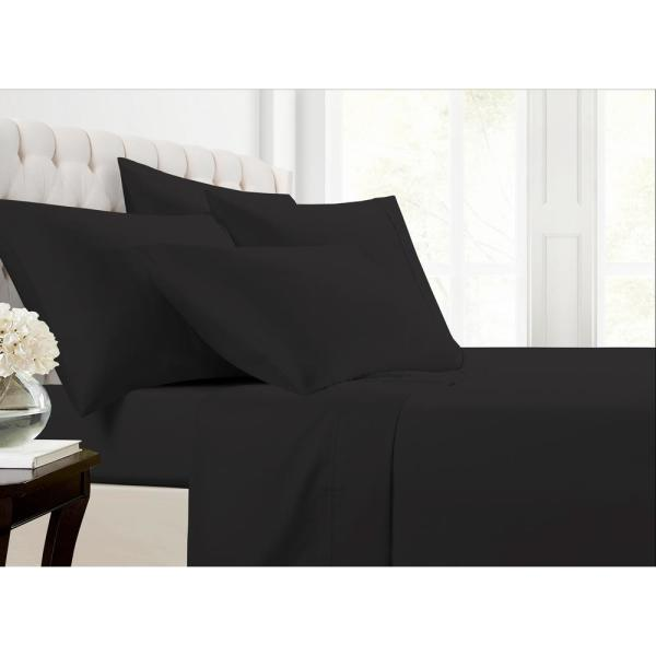 Morgan Home MHF Home 6-Piece Black Solid Cotton Rich King Sheet