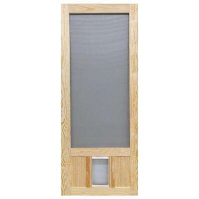 32 in. x 80 in. Chesapeake Series Reversible Wood Screen Door with Medium Pet Flap