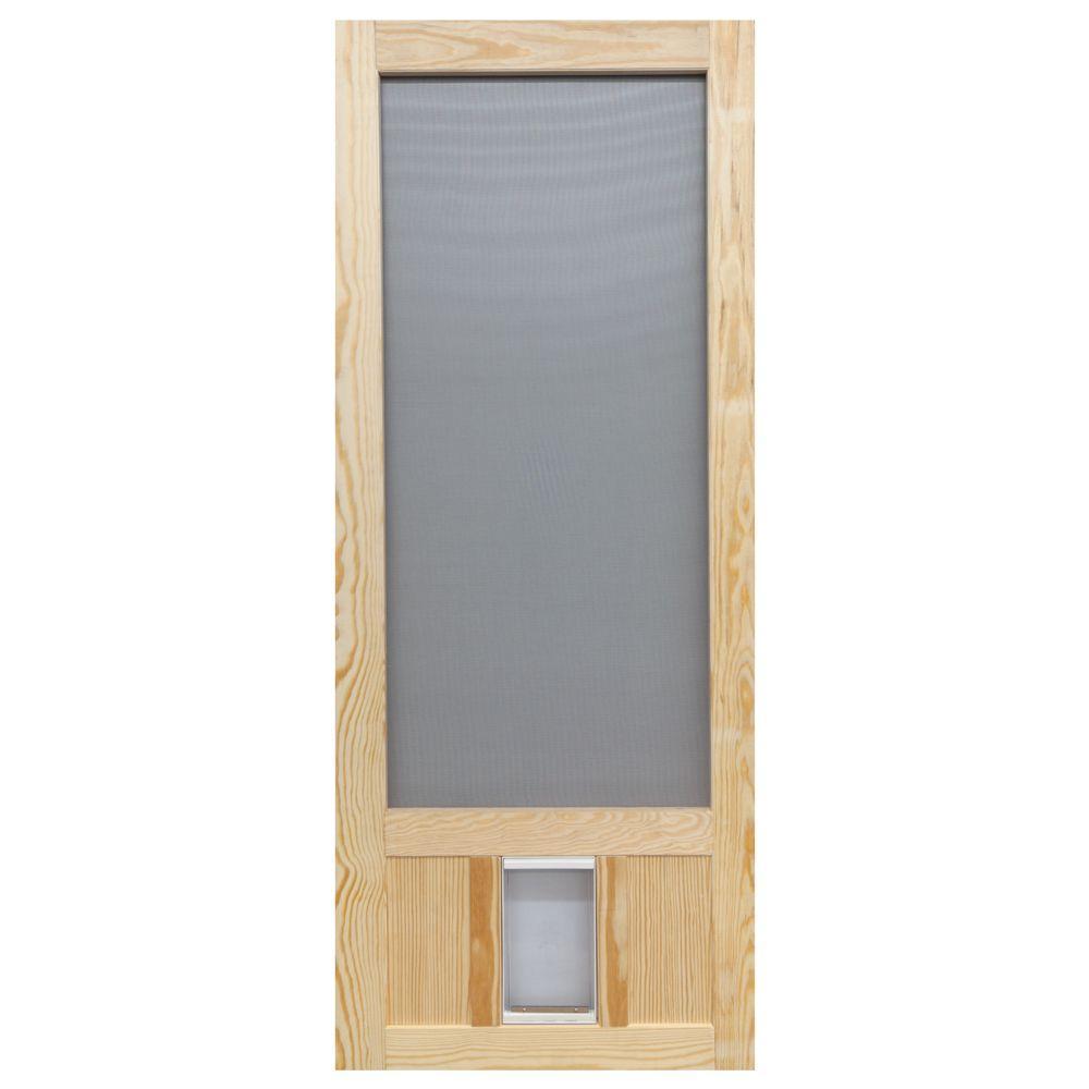 36 in. x 80 in. Chesapeake Series Reversible Wood Screen Door with Medium Pet Flap