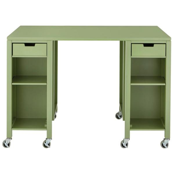 Martha Stewart Living Craft Space Rhododendron Leaf Green Storage Table with Casters