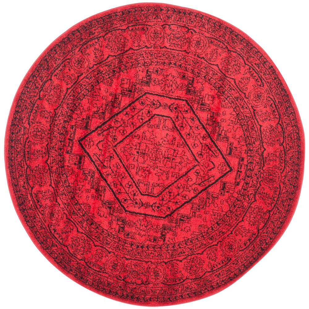 Adirondack Red/Black 6 ft. x 6 ft. Round Area Rug