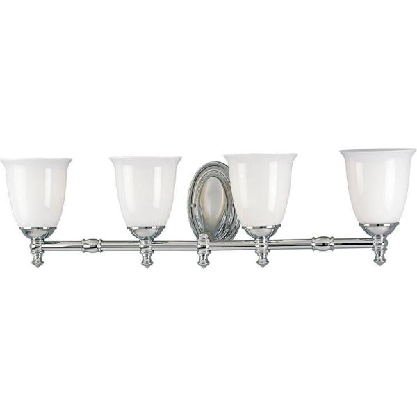 Victorian Collection 4-Light Chrome Bathroom Vanity Light with Glass Shades