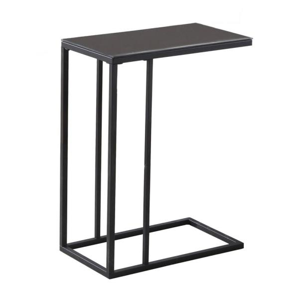 Jasmine 24 in. Black Metal and Black Tempered Glass Accent Table
