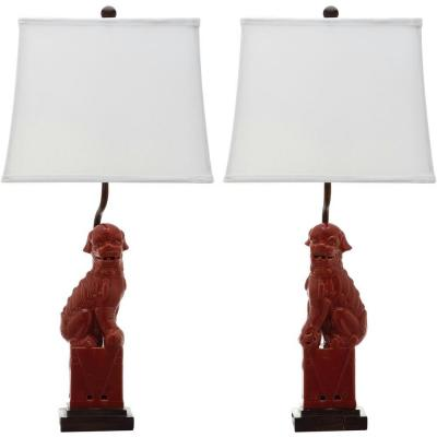 Foo 28 in. Red Dog Table Lamp with White Shade (Set of 2)