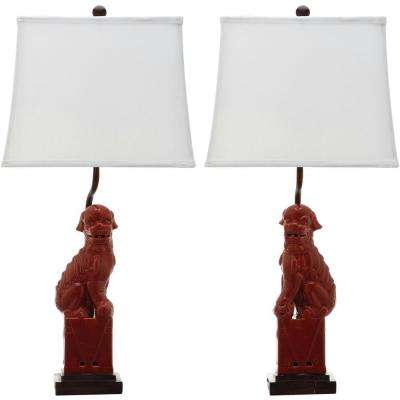 Foo 28 in. Red Dog Table Lamp (Set of 2)