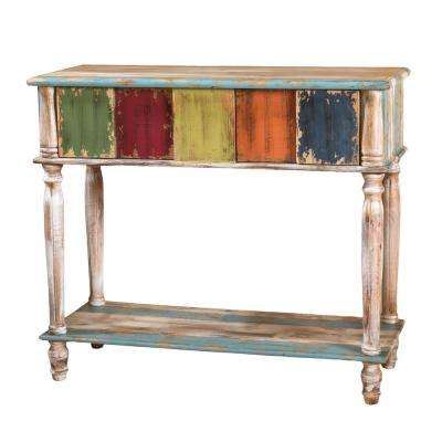 Rustic Distressed Multicolored 2-Drawer Wooden Console Table