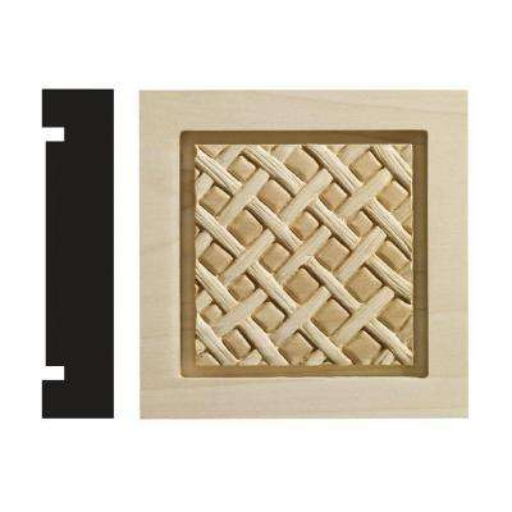 Loose Weave Collection 1-3/16 in. x 5-1/2 in. x 5-1/2 in. White Hardwood Casing Door and Window Corner Block Moulding