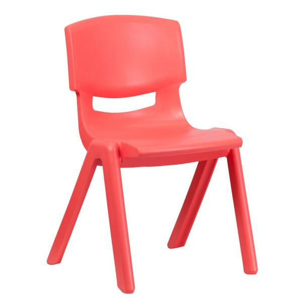 Flash Furniture Red Plastic Stackable School Chair with 15.5 in. Seat Height