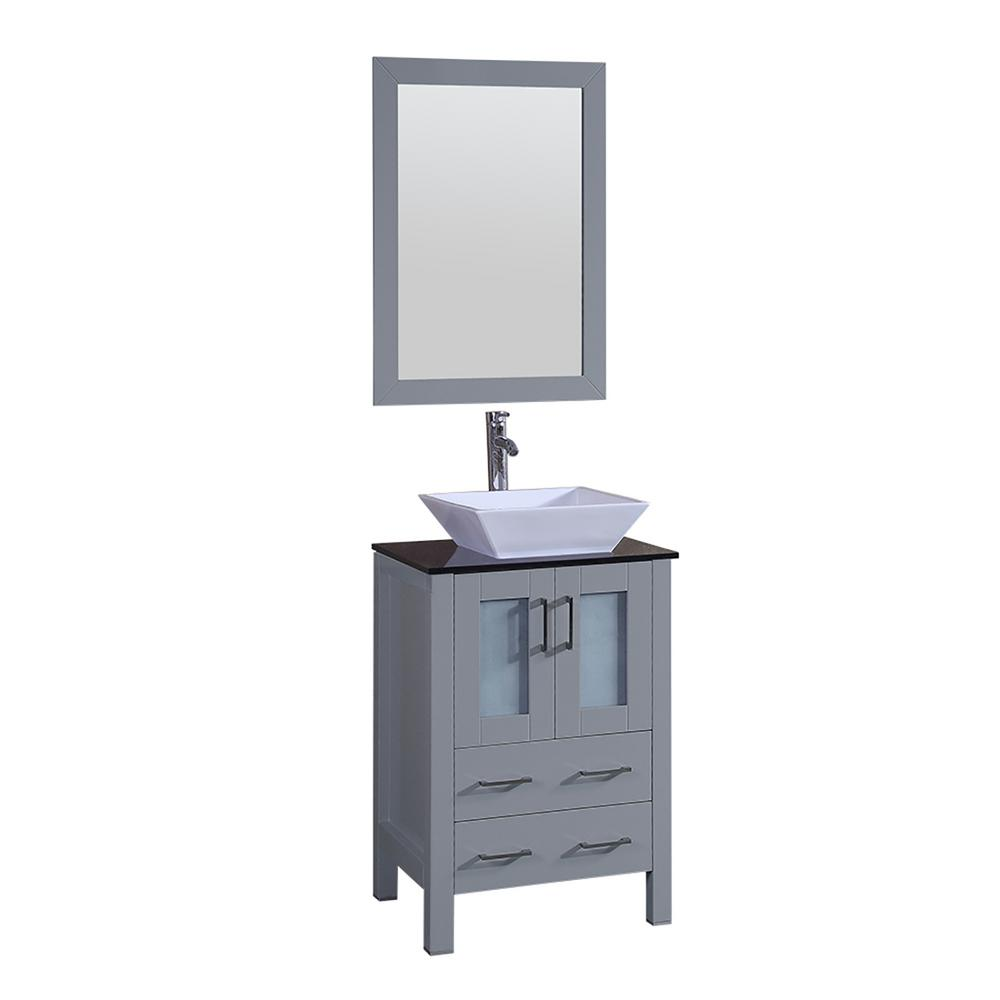Bosconi Bosconi 24 in. W Single Bath Vanity in Gray with Vanity Top in Black with White Basin and Mirror