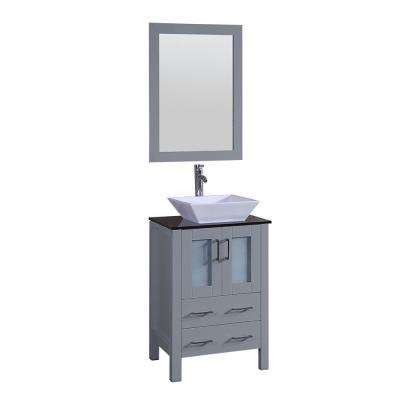 Bosconi 24 in. W Single Bath Vanity in Gray with Vanity Top in Black with White Basin and Mirror