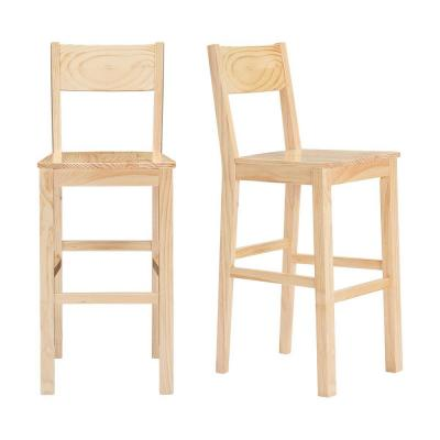 Lincoln Unfinished Wood Bar Stool with Square Back (Set of 2) (20.32 in. W x 44.54 in. H)