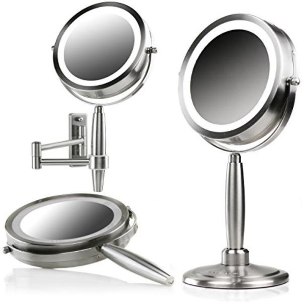 Ovente 3 In 1 Makeup Mirror Tabletop Wall Mount