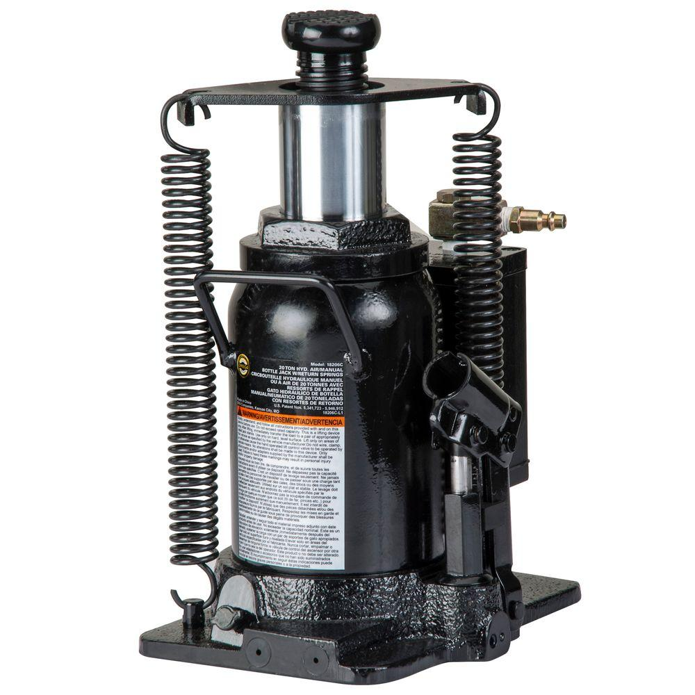 Omega 20-Ton Hydraulic Air/Manual Bottle Jack with Return Springs