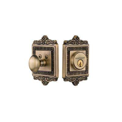 Egg and Dart Plate 2-3/8 in. Backset Single Cylinder Deadbolt in Antique Brass