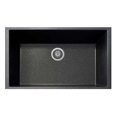 One Undermount Granite Composite 19.5 in. Single Bowl Kitchen Sink in Black Metallic