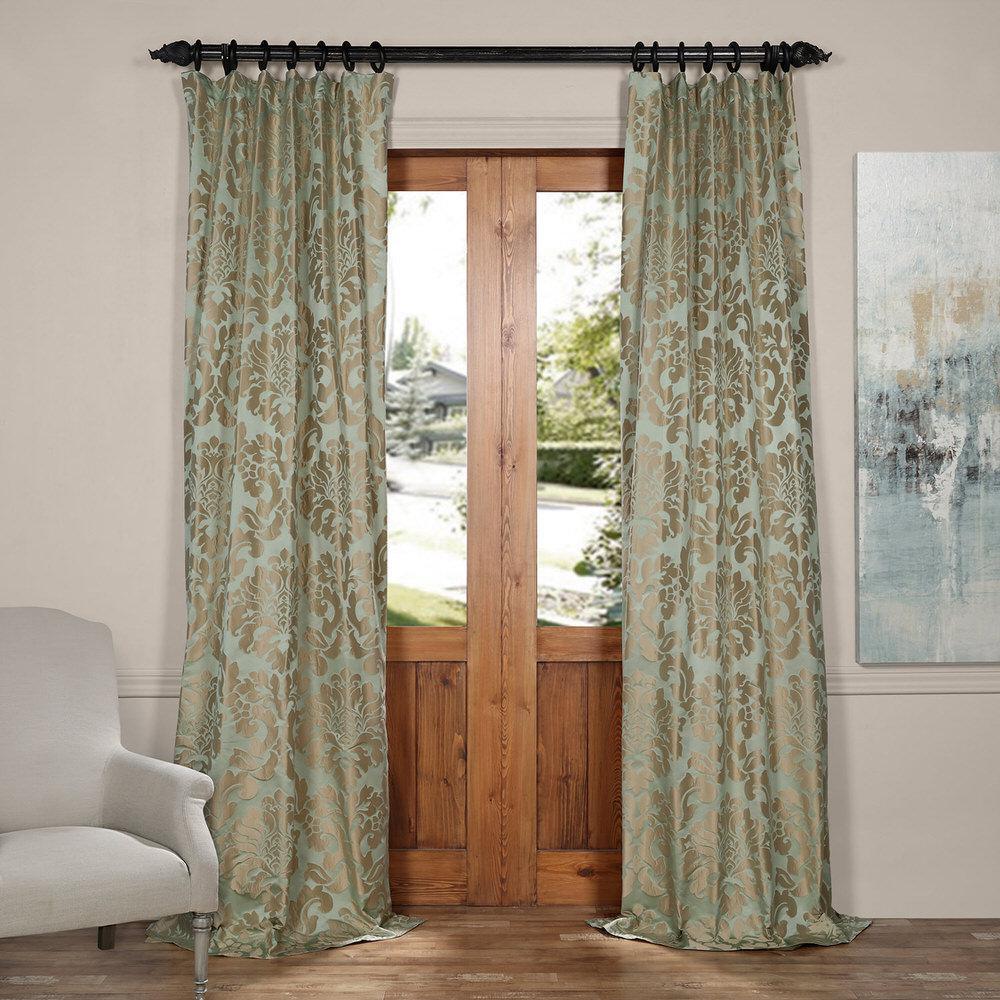 Exclusive Fabrics & Furnishings Astoria Jade and Taupe Faux Silk Jacquard Curtain Panel - 50 inch W x 84 inch L by Exclusive Fabrics & Furnishings