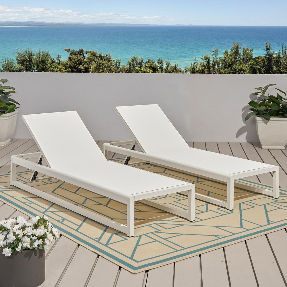 Metten White 2-Piece Aluminum Outdoor Chaise Lounge