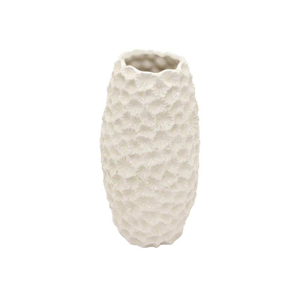 Three Hands Decorative White Ceramic Vase With Glossy 72688 The Home Depot