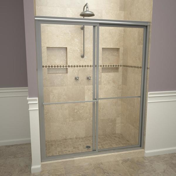 1100 Series 47 in. W x 71-1/2 in. H Framed Sliding Shower Doors in Brushed Nickel with Towel Bars and Clear Glass