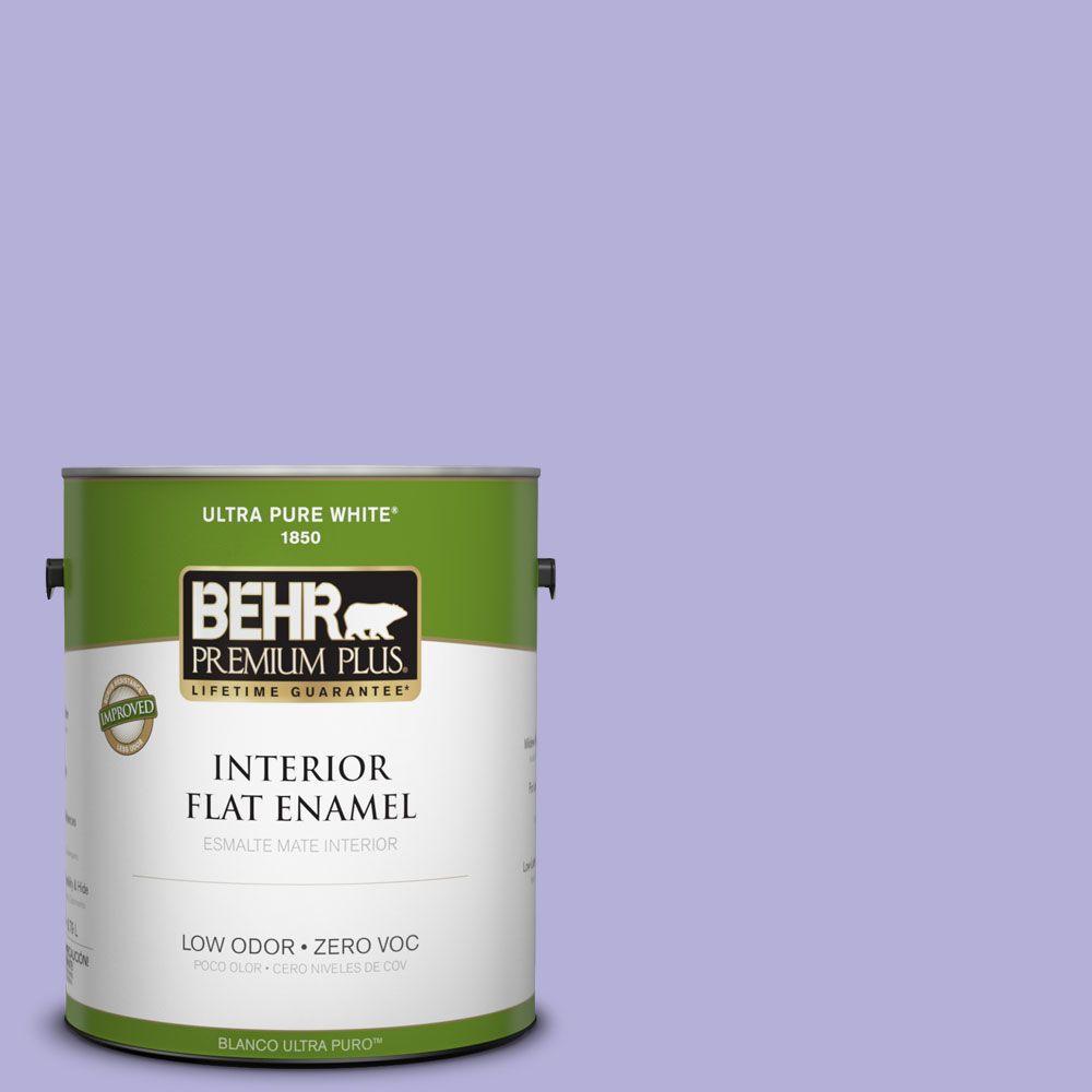 BEHR Premium Plus 1-gal. #630B-4 Freesia Purple Zero VOC Flat Enamel Interior Paint-DISCONTINUED