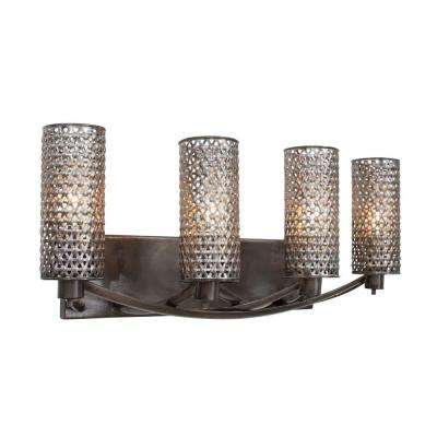 Casablanca 4-Light Steel Bath Vanity Light with Recycled Steel Mesh