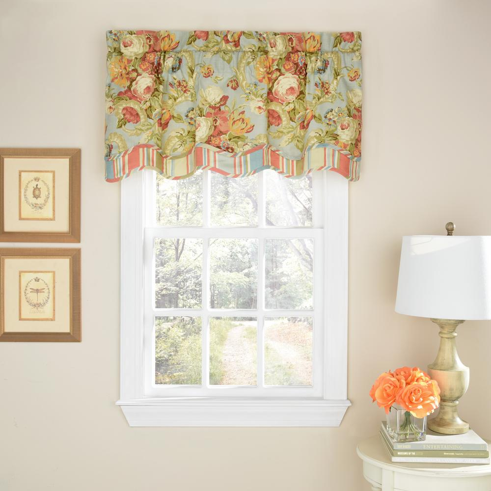 Waverly 52 In W X 18 L Spring Bling Cotton Rod Pocket Valance Vapor