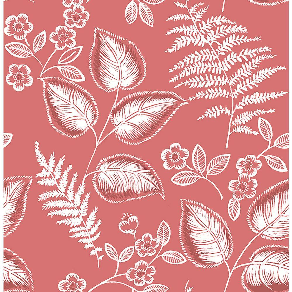 Trianon Coral Botanical Wallpaper Sample
