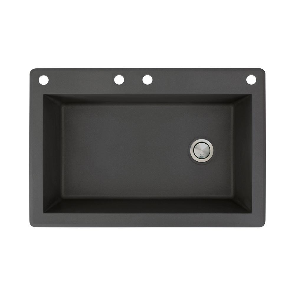 Radius Drop-in Granite 33 in. 4-Hole Single Bowl Kitchen Sink in Black