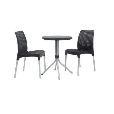 Chelsea Graphite Grey 3-Piece All-Weather Patio Bistro Set
