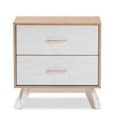Helena 2-Drawer Natural/Whitewash Nightstand