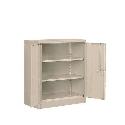 36 in. W x 42 in. H x 18 in. D 2-Shelf Heavy Duty Metal Counter Height Assembled Storage Cabinet in Tan