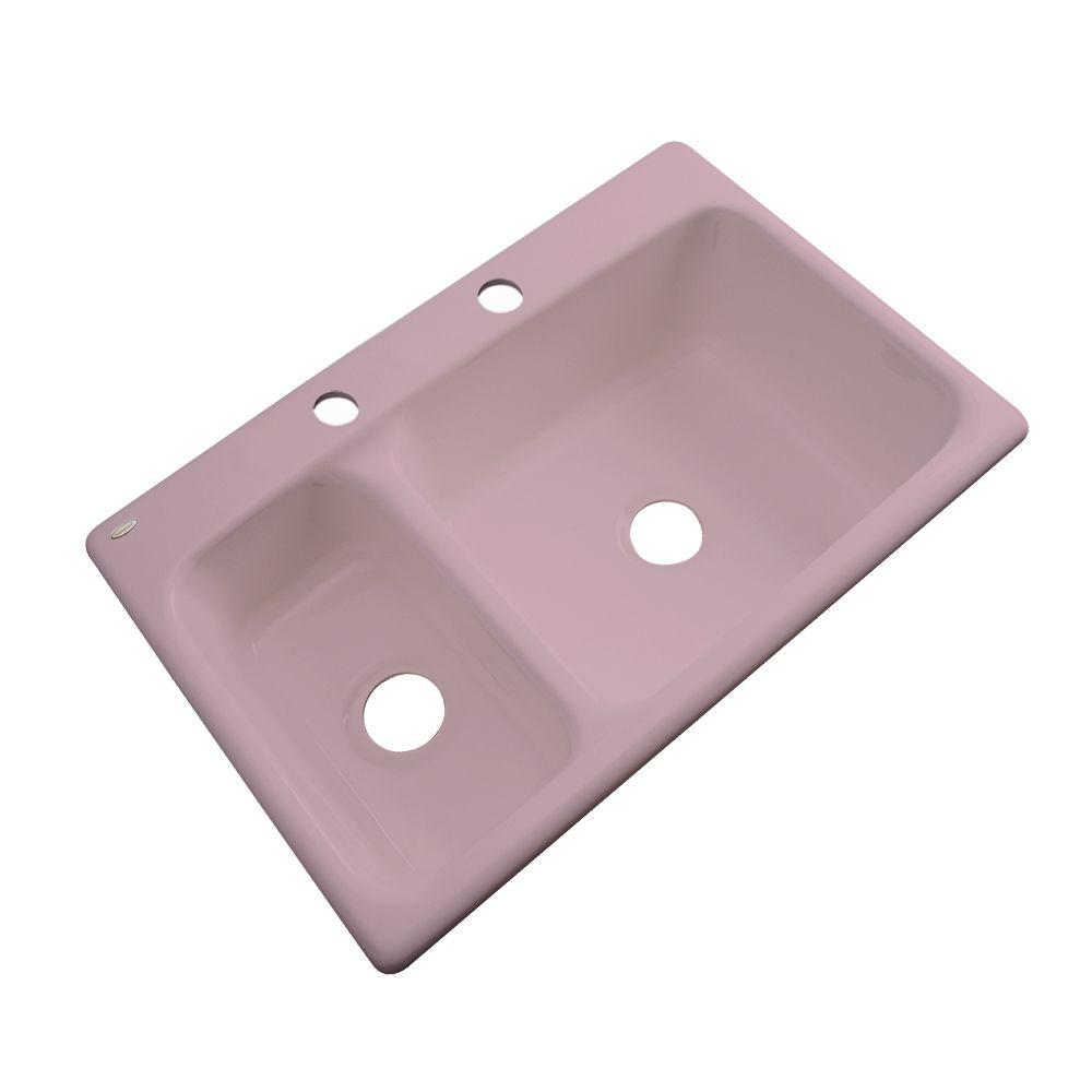 Thermocast Wyndham Drop-In Acrylic 33 in. 2-Hole Double Bowl Kitchen Sink in Wild Rose
