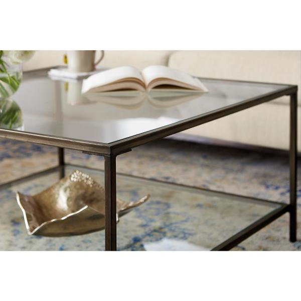 Home Decorators Collection Bella 34 In Antique Bronze Clear Medium Square Glass Coffee Table With Shelf V183100xxb W5p The Home Depot