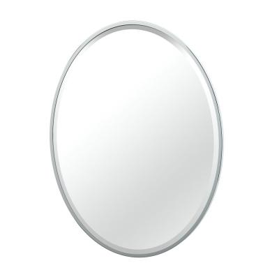Flush 25 in. W x 33 in. H Framed Oval Beveled Edge Bathroom Vanity Mirror in Chrome