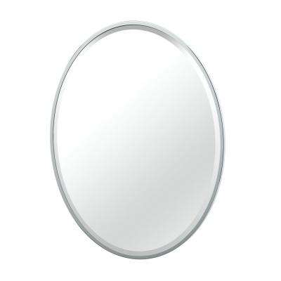Flush Mount 25 in. x 33 in. Framed Oval Mirror in Chrome