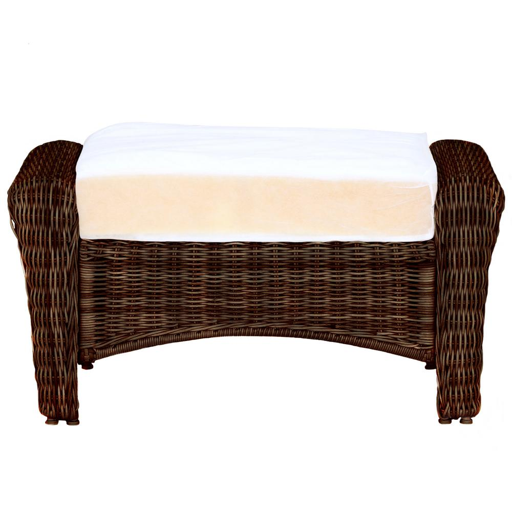 Hampton Bay Park Meadows Brown Custom Wicker Outdoor Ottoman